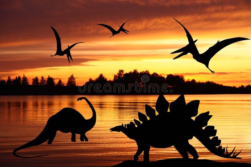 dinosaurillustrationvärld vektor illustrationer