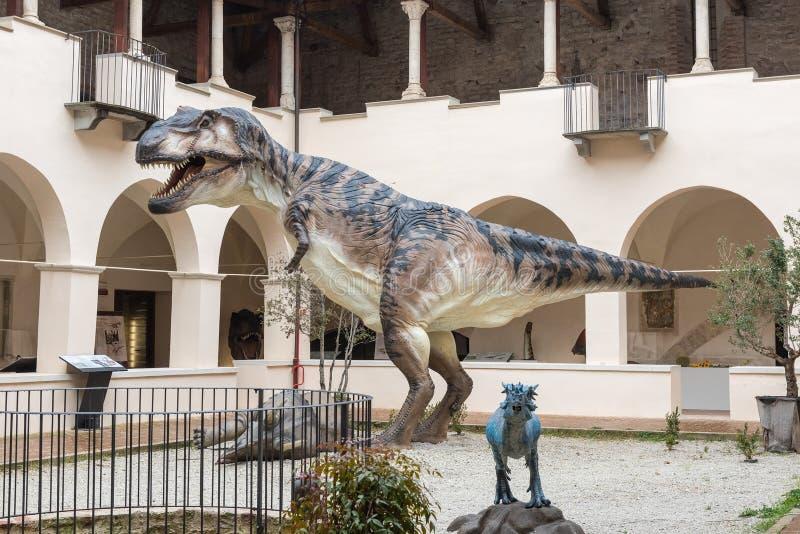 Dinosaurio, aka t-rex de Rex del tiranosaurio, en la exposición en Gubbio, foto de archivo