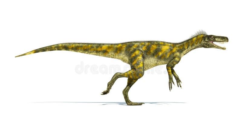 Dinosaurio de Herrerasaurus, representación fotorrealista. Vista lateral libre illustration