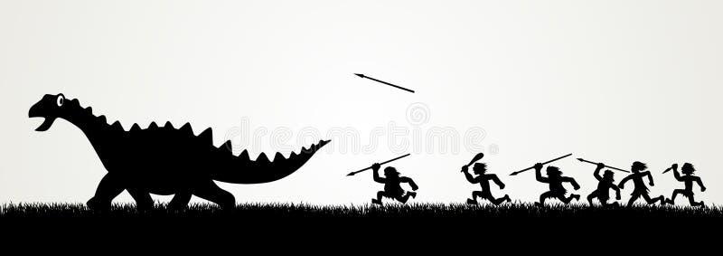 Dinosaurio de la caza stock de ilustración