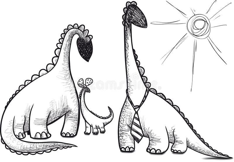 Dinosaurio de la familia ilustración del vector