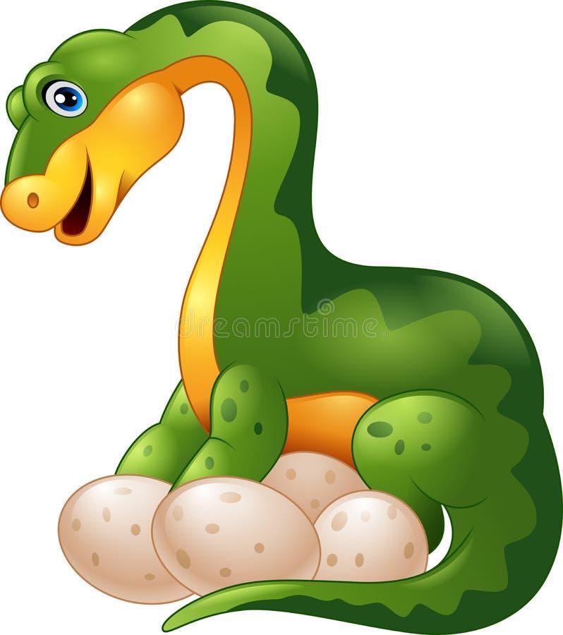 Dinosaurio de la historieta con el huevo aislado en el fondo blanco libre illustration