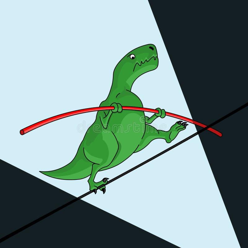 Dinosaurio de la historieta equilibrado en el alambre ilustración del vector