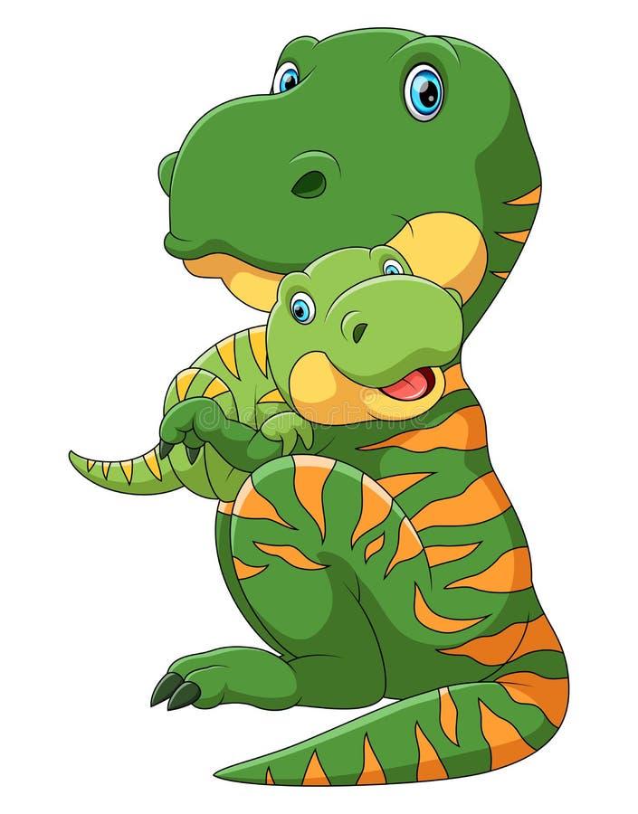 Dinosaurio de la madre que lleva el dinosaurio lindo del bebé stock de ilustración
