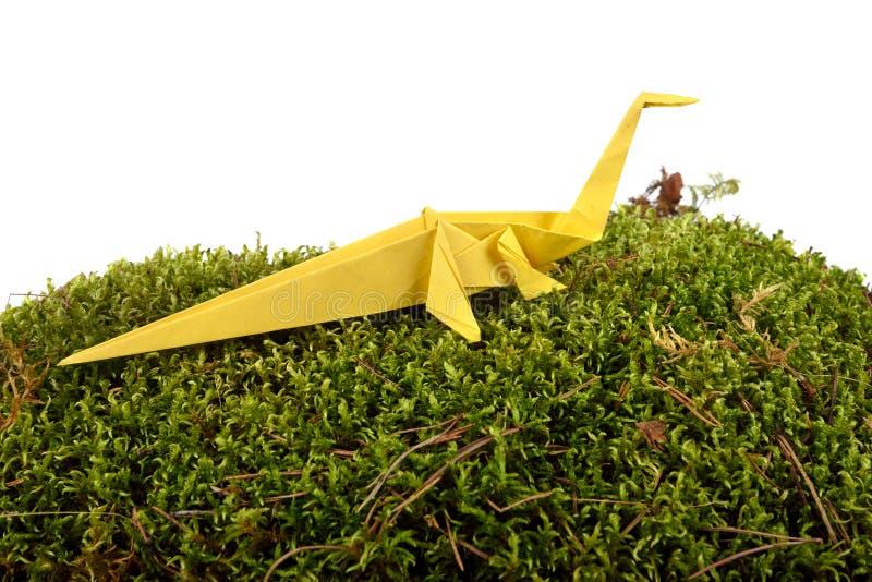 Dinosaurio de papel amarillo fotografía de archivo libre de regalías