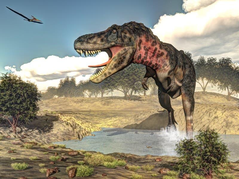 Dinosaurio de Tarbosaurus - 3D rinden stock de ilustración