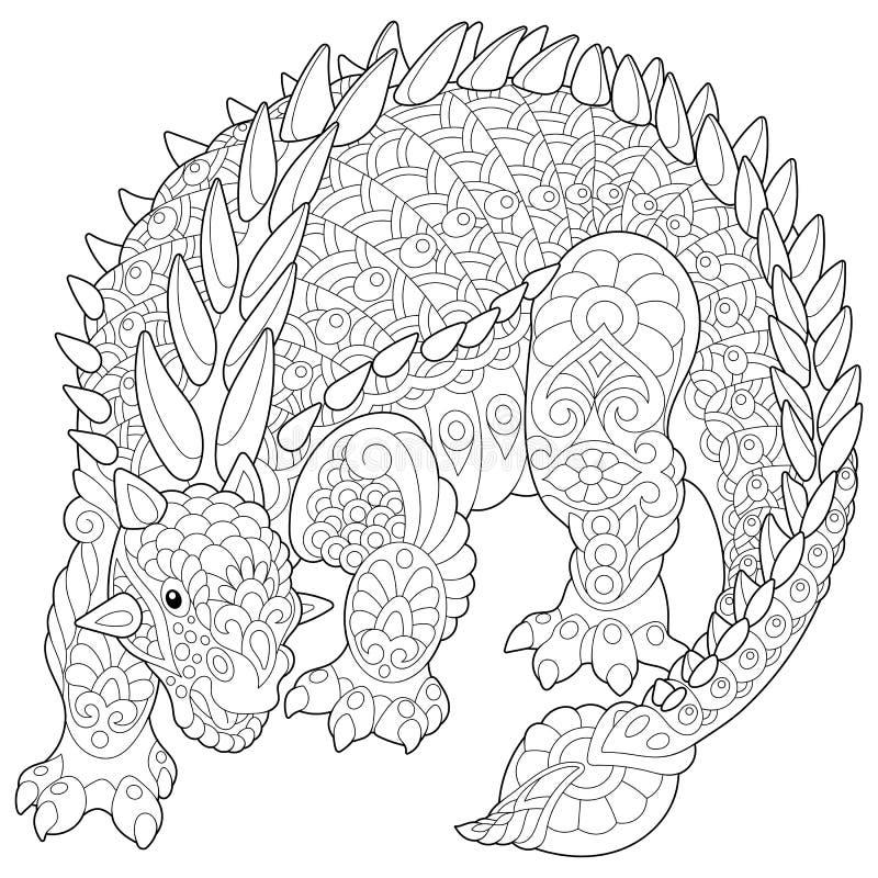 Dinosaurio del ankylosaurus de Zentangle libre illustration