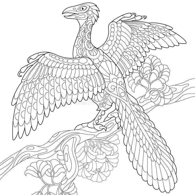 Dinosaurio del archeopteryx de Zentangle ilustración del vector