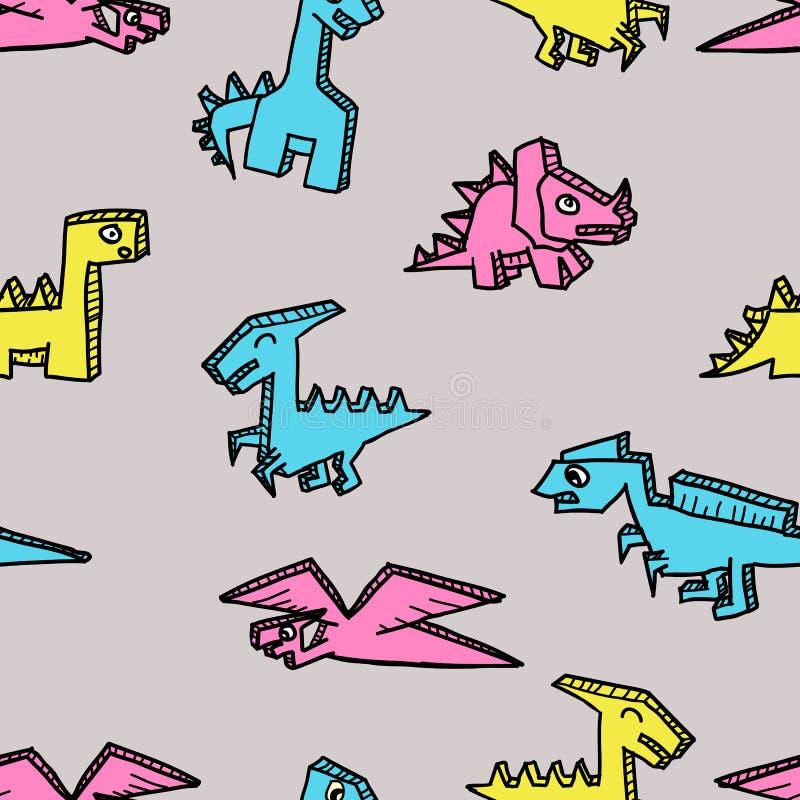 Dinosaurio del carácter de la diversión para el modelo inconsútil de la impresión de la materia textil de los niños ilustración del vector