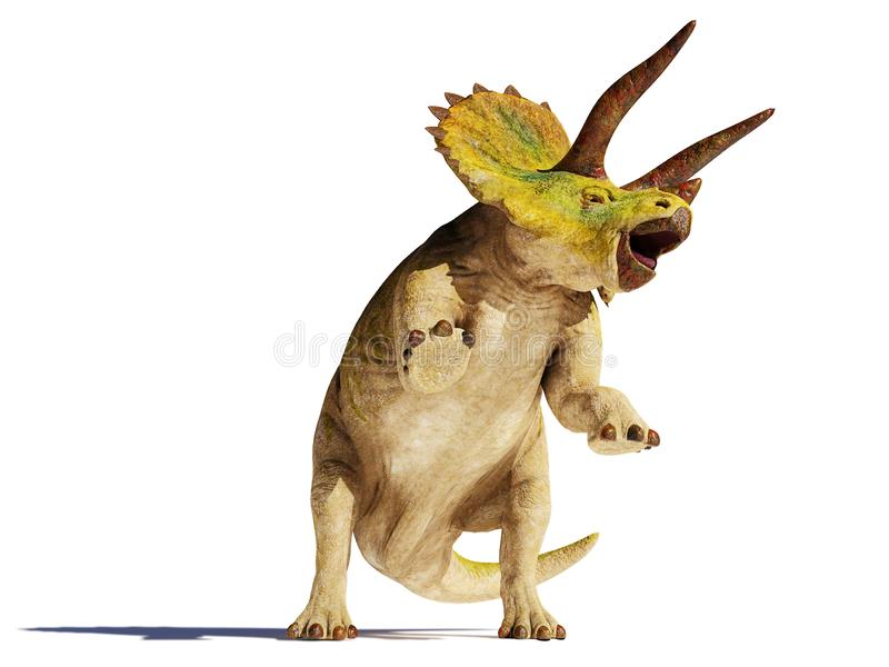 Dinosaurio del horridus del Triceratops en el ejemplo de la acción 3d aislado con la sombra en el fondo blanco ilustración del vector