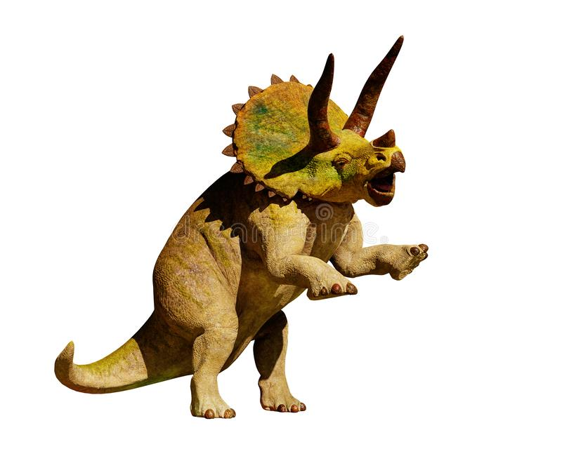 Dinosaurio del horridus del Triceratops en la representación de la acción 3d aislada en el fondo blanco libre illustration