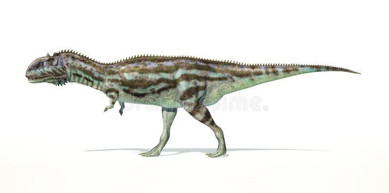 Dinosaurio del Majungasaurus, representación fotorrealista. Vista lateral stock de ilustración