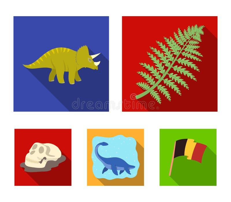 Dinosaurio del mar, triceratops, planta prehistórica, cráneo humano Dinosaurio e iconos determinados de la colección del período  libre illustration