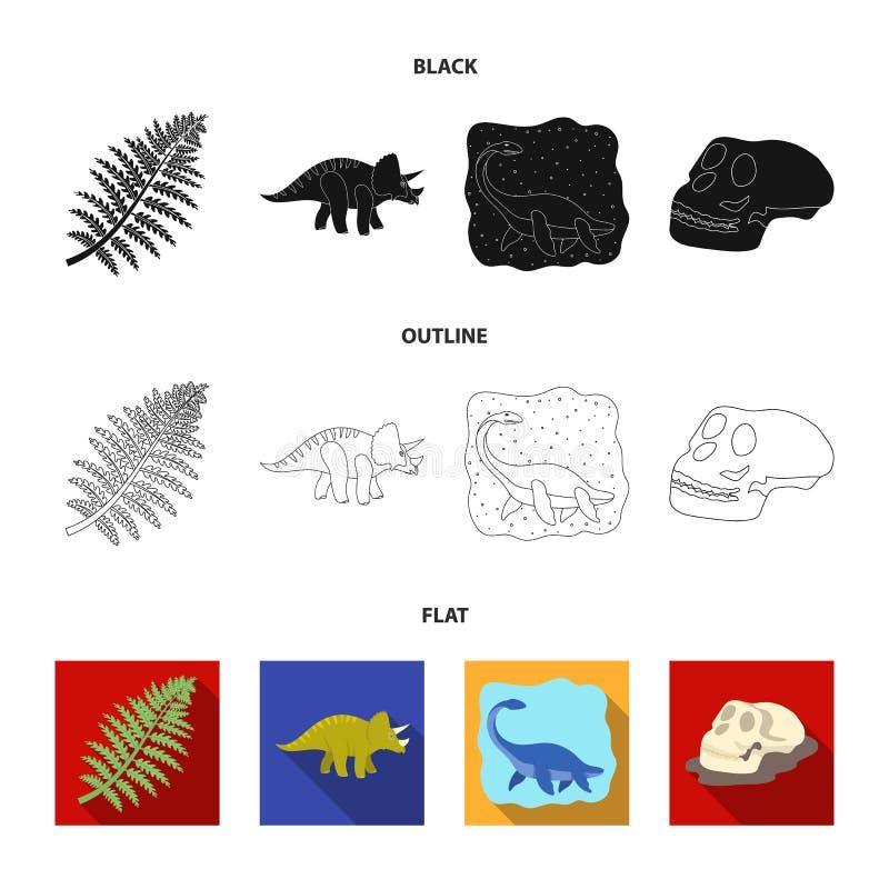 Dinosaurio del mar, triceratops, planta prehistórica, cráneo humano Dinosaurio e iconos determinados de la colección del período  stock de ilustración