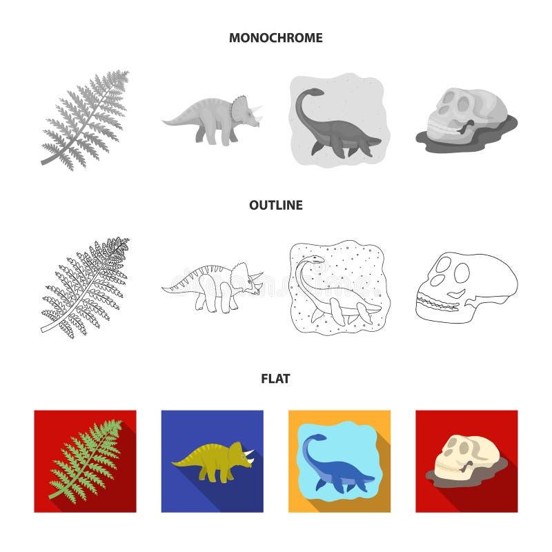 Dinosaurio del mar, triceratops, planta prehistórica, cráneo humano Dinosaurio e iconos determinados de la colección del período  ilustración del vector