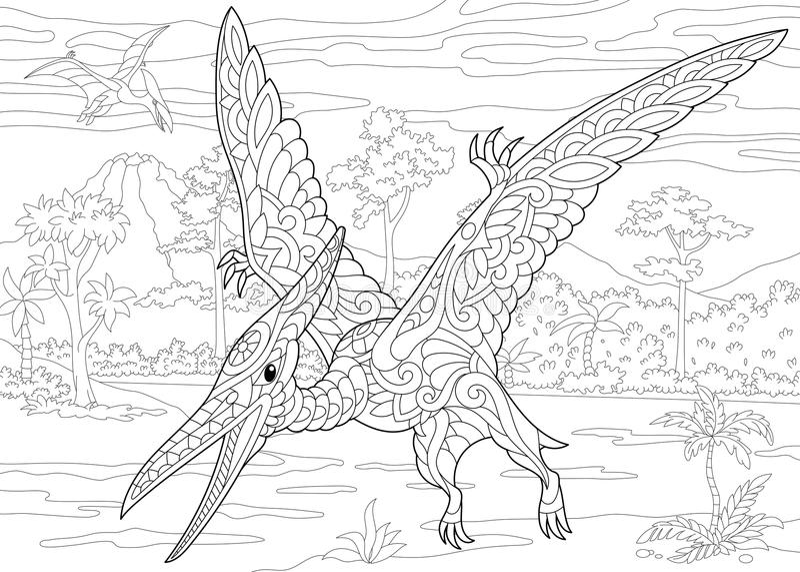 Dinosaurio del pterodáctilo de Zentangle stock de ilustración