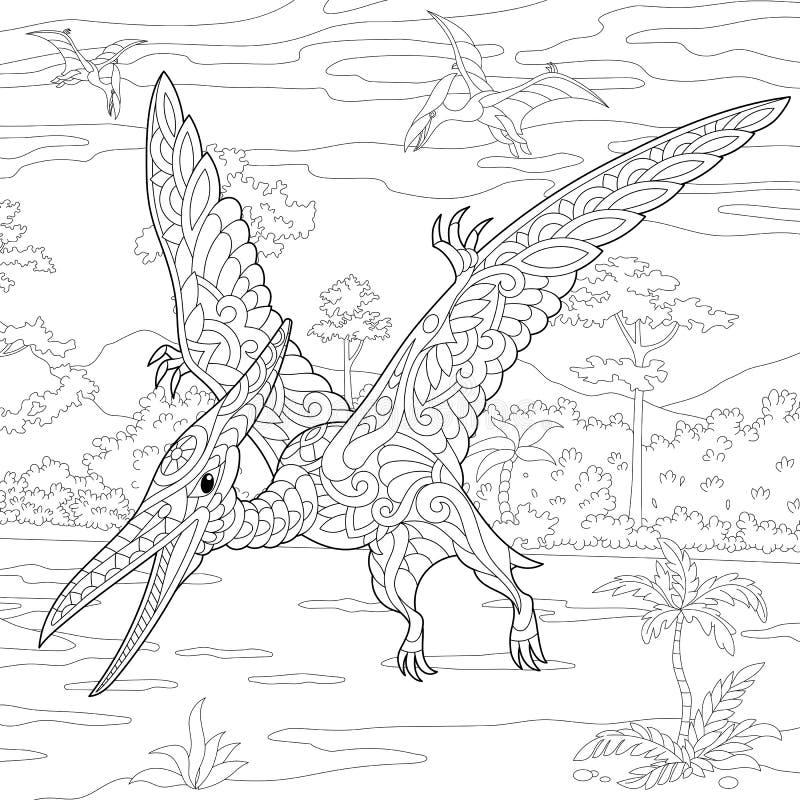 Dinosaurio del pterodáctilo de Zentangle libre illustration