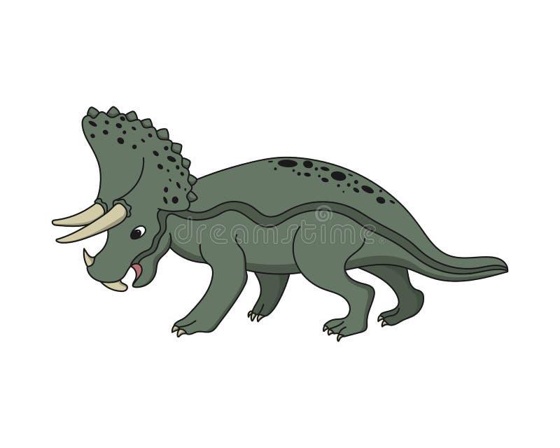 Dinosaurio del Triceratops de la historieta Herbívoro prehistórico en un fondo blanco ilustración del vector