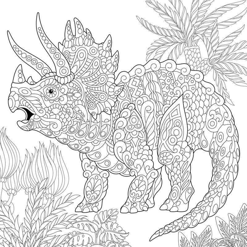Dinosaurio del triceratops de Zentangle libre illustration