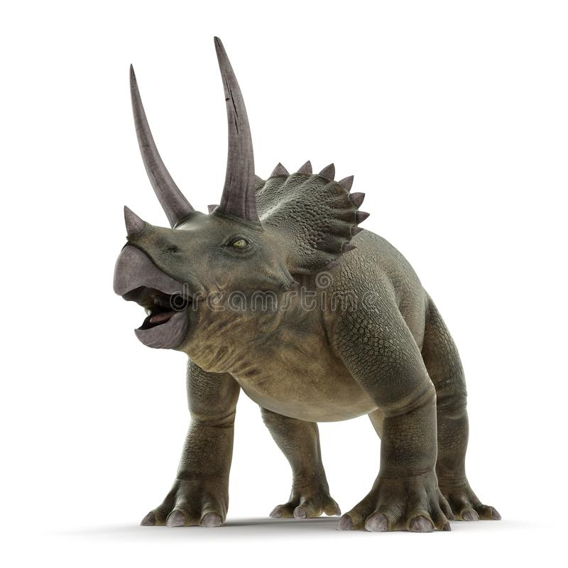 Dinosaurio del Triceratops en blanco ilustración 3D ilustración del vector