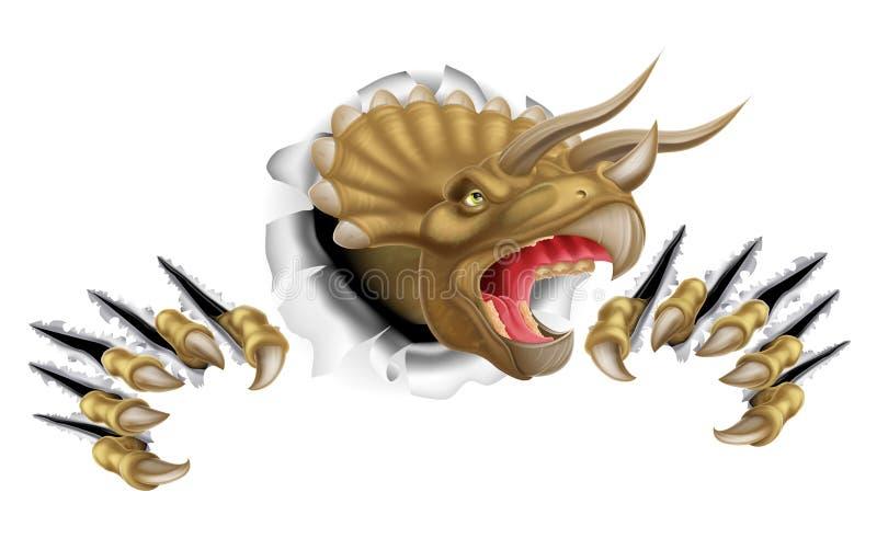 Dinosaurio del Triceratops que se rompe a través ilustración del vector