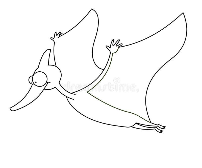 Dinosaurio del vuelo blanco y negro foto de archivo