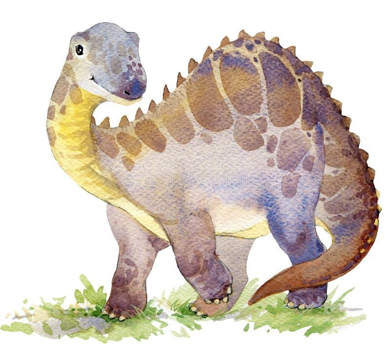 dinosaurio Dibujo de la acuarela del dinosaurio Ejemplo del dinosaurio ilustración del vector