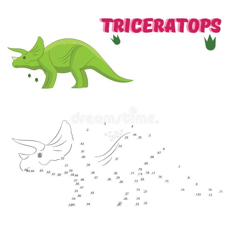 Dinosaurio educativo del drenaje del juego ilustración del vector