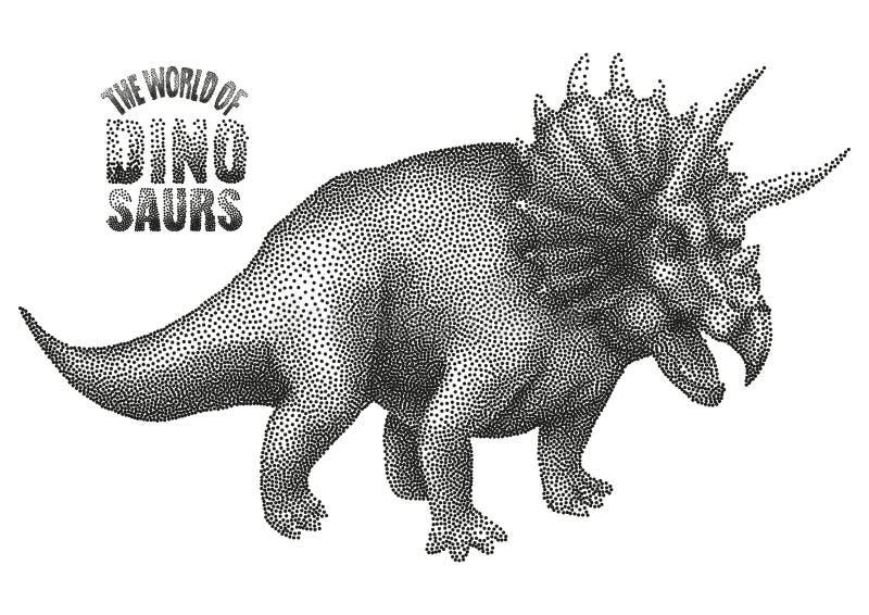 Dinosaurio en el punteado de técnica ilustración del vector