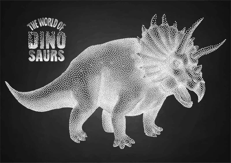 Dinosaurio en el punteado de técnica stock de ilustración