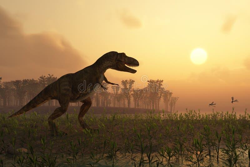 Dinosaurio en paisaje ilustración del vector