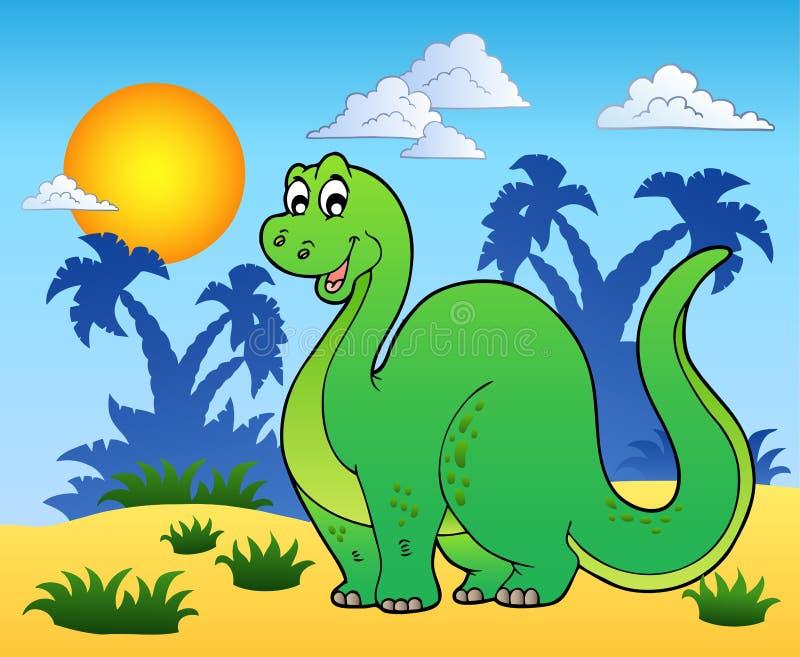 Dinosaurio en paisaje prehistórico stock de ilustración