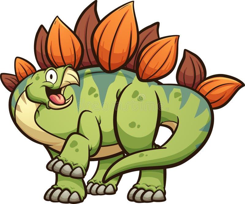 Dinosaurio feliz del stegosaurus de la historieta con la pierna para arriba ilustración del vector