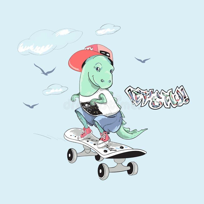 Dinosaurio lindo con el monopatín y el lema ilustración del vector