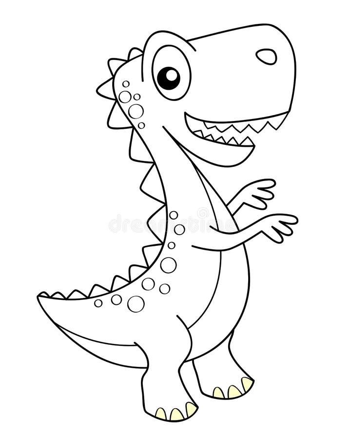 Dinosaurio lindo de la historieta dino Ejemplo blanco y negro del vector para el libro de colorear stock de ilustración