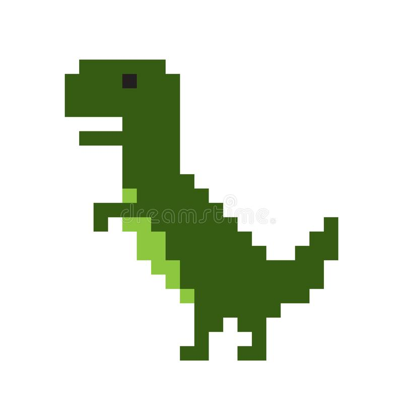 Dinosaurio lindo del pixel aislado en el fondo blanco stock de ilustración