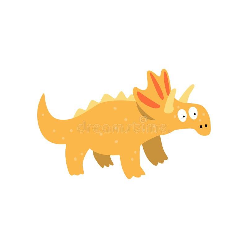 Dinosaurio lindo del triceratops de la historieta, ejemplo prehistórico del vector del carácter de Dino en un fondo blanco ilustración del vector