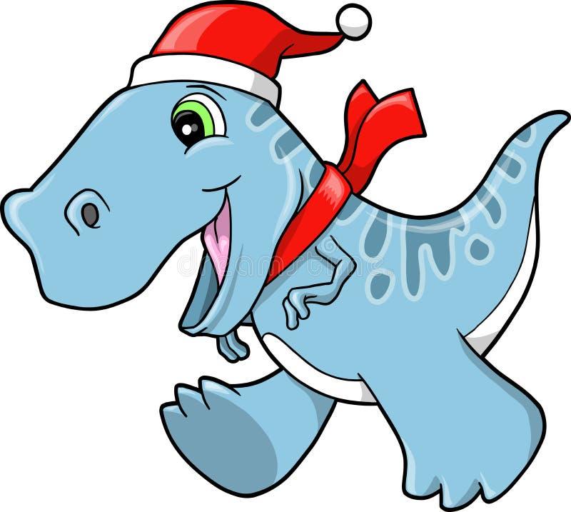 Dinosaurio lindo del Tyrannosaurus del día de fiesta de la Navidad stock de ilustración