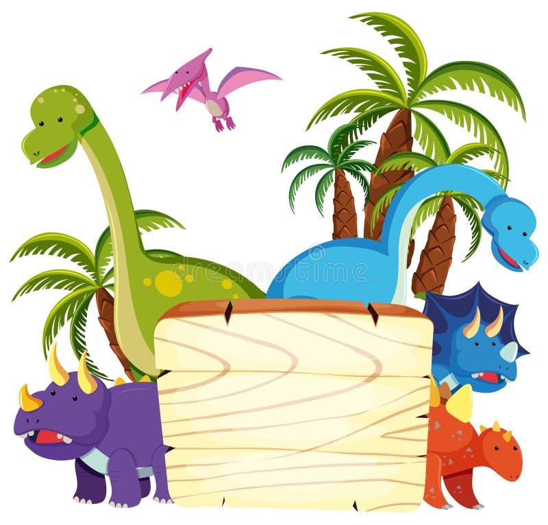 Dinosaurio lindo en el tablero de madera stock de ilustración