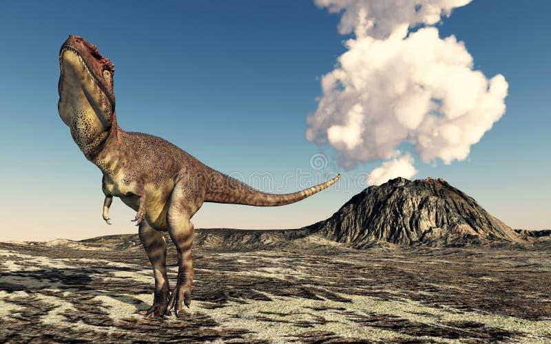 Dinosaurio Mapusaurus y volcán ilustración del vector