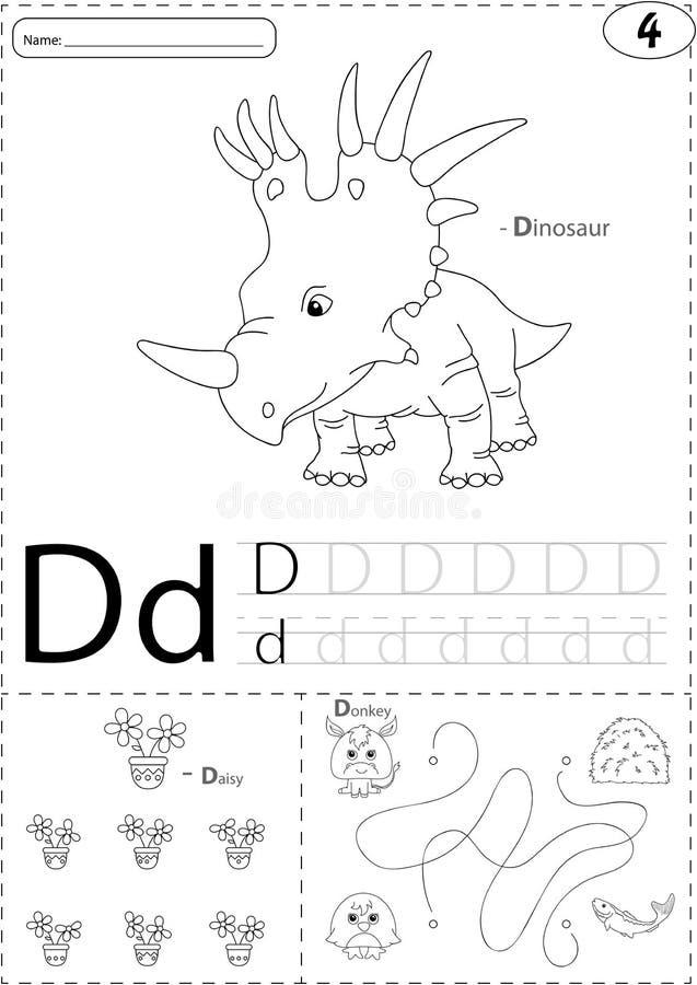 Dinosaurio, margarita y burro de la historieta Hoja de trabajo de trazado del alfabeto: stock de ilustración