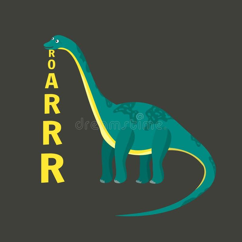 Dinosaurio plano del diplodocus del vector de la historieta con el texto de la vertical del rugido stock de ilustración