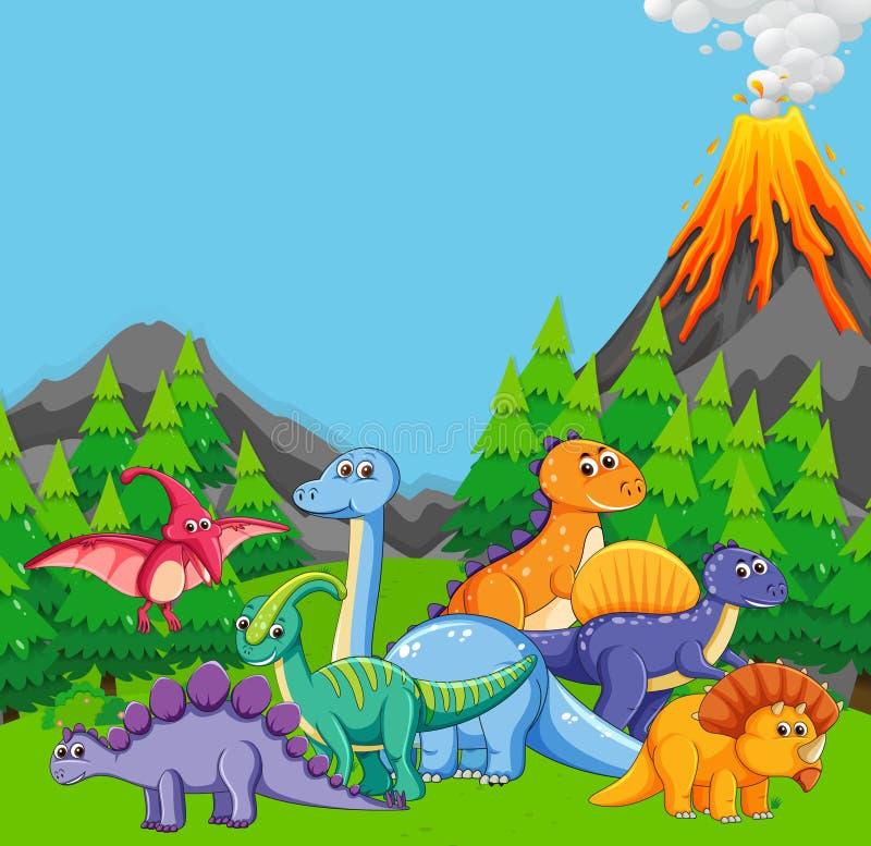 Dinosaurio plano en naturaleza ilustración del vector