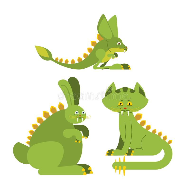 Dinosaurio prehistórico del conejo Gato de Dino Monstruo del jerbo del rapaz Ju ilustración del vector