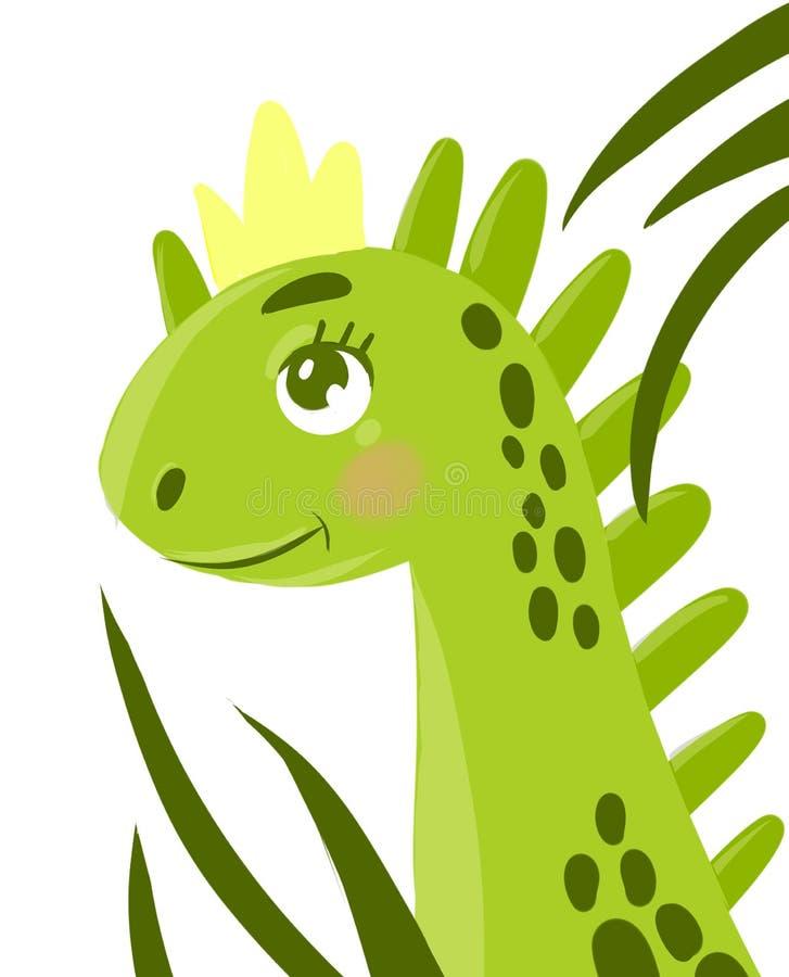 dinosaurio que oculta en las hojas ilustración del vector
