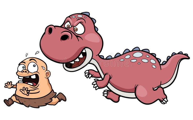 Dinosaurio que persigue a un hombre de las cavernas ilustración del vector