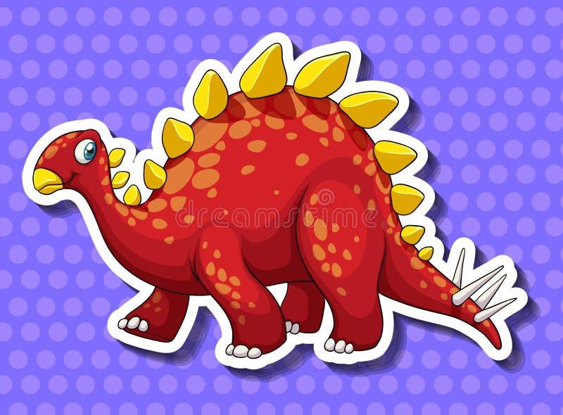 Dinosaurio rojo en fondo azul stock de ilustración