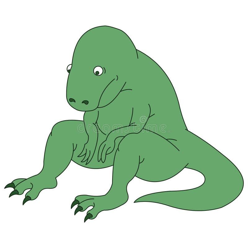 Dinosaurio verde lindo en la depresión stock de ilustración