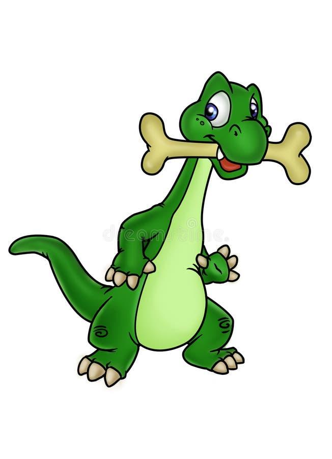Dinosaurio y hueso stock de ilustración