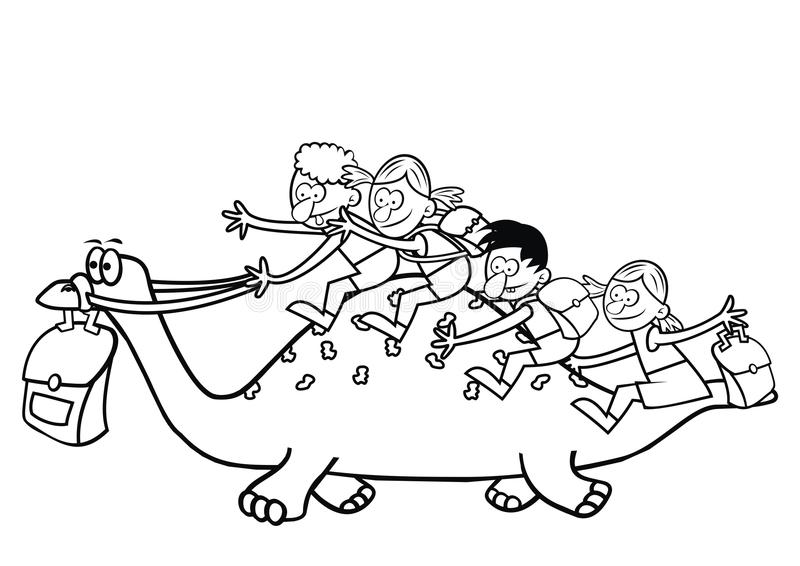 Dinosaurio Y Niños, Libro De Colorear Ilustración del Vector ...